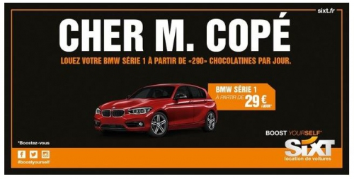 Exemple de newsjacking : sixt et le pain au chocolat de Copé